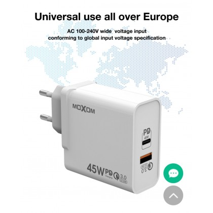 Moxom MX-HC28 Super Power 45W PD and QC3.0 Fast Charging One Adapter Two Plug Charger