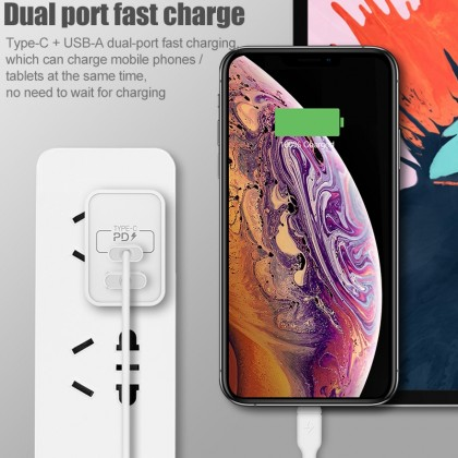 Momax UM13UK One Plug 2 Port USB Fast Charger (Type -C PD + QC 3.0 USB) 18W (Anycolor)