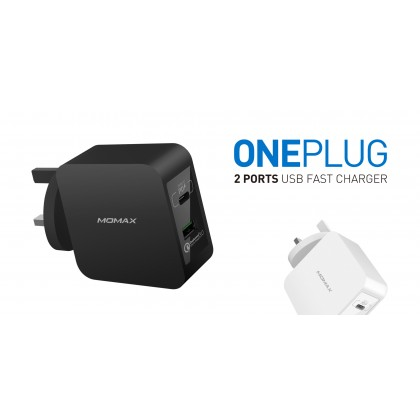 Momax One Plug 2 ports Fast Charging Adaptor (Anycolor)