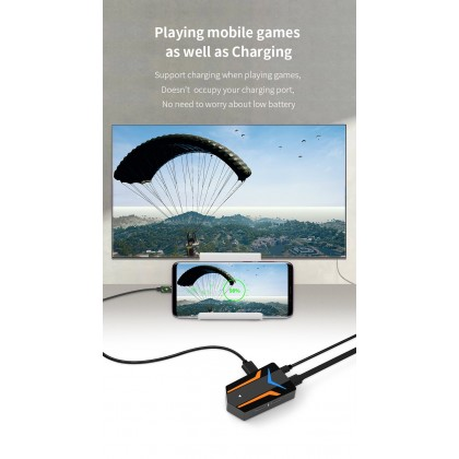 MiraScreen X10 Mobile Game USB Hub Adapter for Mouse and Keyboard (Not Work With iOS 13.4+ Devices)