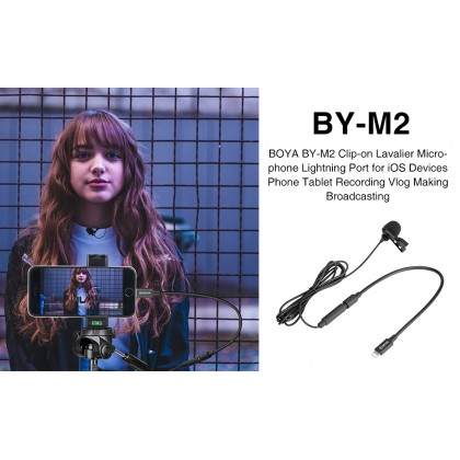 BOYA BY-M2 Clip-on Lavalier Microphone for iOS devices