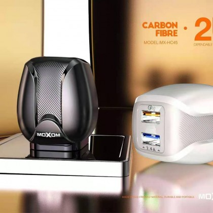 Moxom MX-HC45 Charger Fast Charging Carbon Fibre 2 USB PORT QC3.0 (Anycolor)