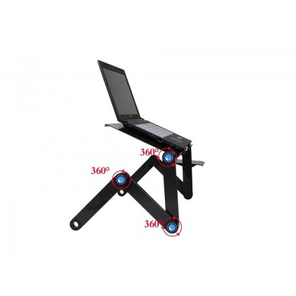 Foldable Aluminum Alloy Desk Stand With Cooling Hole (Black)