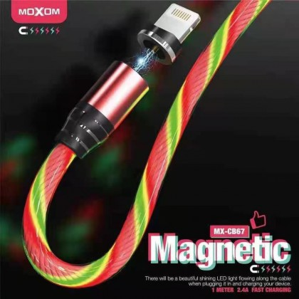 Moxom MX-CB67 LED Magnetic Flowing Cable for Micro/ Lightning/ Type C (Anycolor)